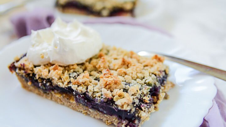 A Blueberry Crumble Bar on a white plate next to a metal fork