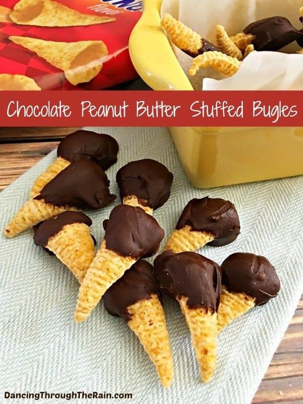 Chocolate Peanut Butter Stuffed Bugles