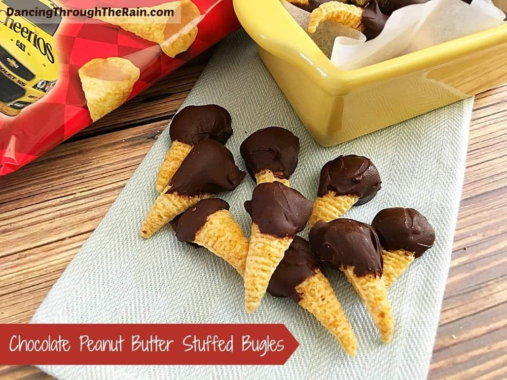 Chocolate Peanut Butter Stuffed Bugles