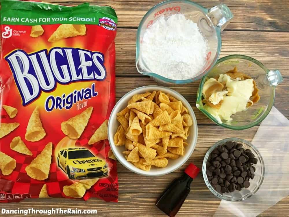 Ingredients for Chocolate Peanut Butter Stuffed Bugles