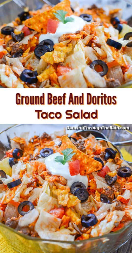 Two closeup pictures of Ground Beef and Doritos Taco Salad with crushed Dorito chips, tomatoes, black olive slices, ground beef and sour cream visible
