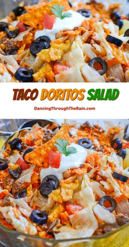 Two closeups of Taco Doritos Salad with crushed Dorito chips, sliced olives, tomatoes, iceberg lettuce and ground beef visible