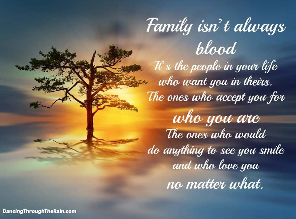 A tree with a sunset behind it and a quote about a chosen family