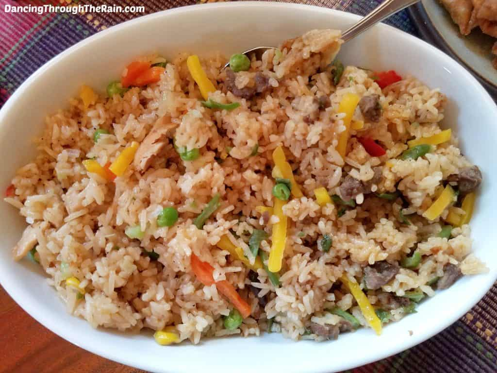 Ling Ling Fried Rice in a white bowl