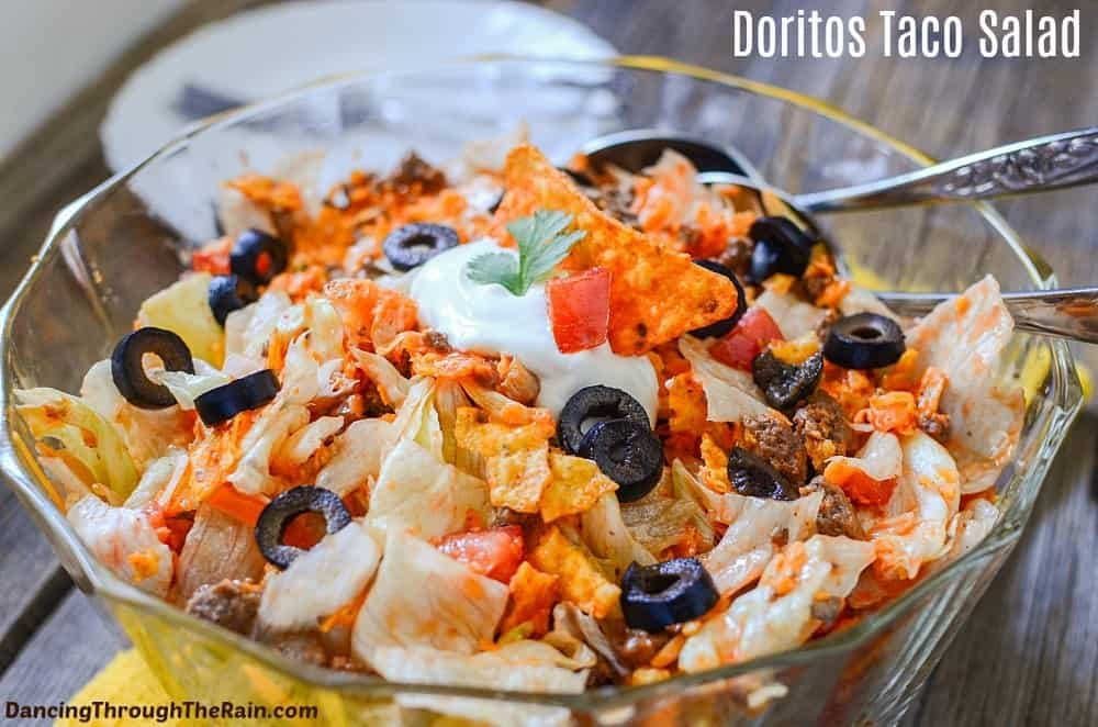 Taco Salad with Doritos in a bowl