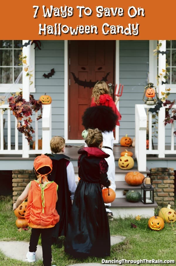 Kids walking up the steps of a house to trick or treat