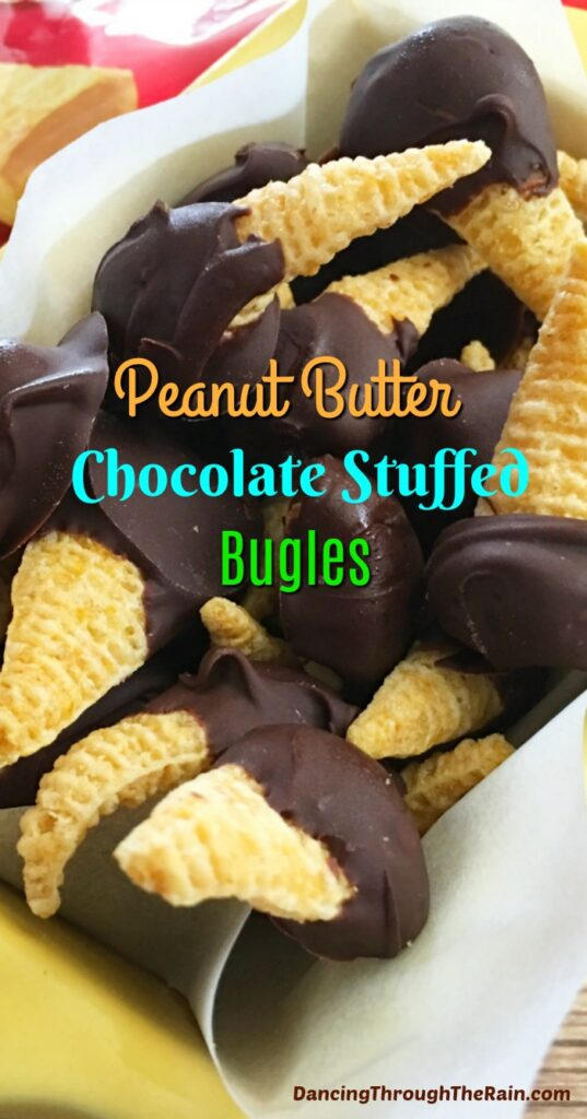 A yellow serving dish with Chocolate Peanut Butter Bugles piled on top of each other