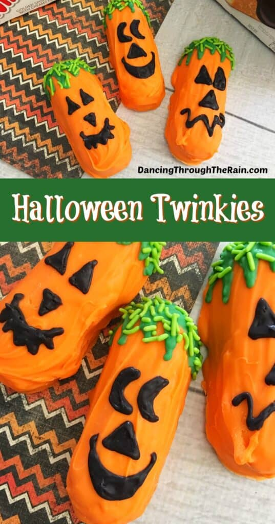 Two pictures of Halloween Twinkies dressed up as Jack O Lanterns