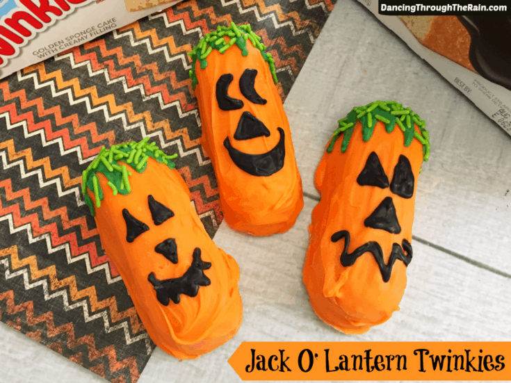 Halloween Jack O Lantern Twinkies - One of the Halloween recipes that everyone will love! Put them out as Halloween food for your next gathering for something a little more tasty and less spooky!