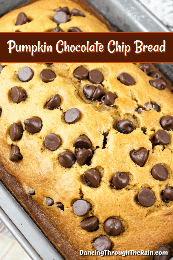 This pumpkin bread is about to be your favorite fall recipe! A pumpkin chocolate chip bread is the perfect breakfast or dessert for any occasion, plus it's incredibly delicious. Add this to your fall desserts, but don't forget that you can make it any time of year! #pumpkin #dessert #chocolatechips #chocolate