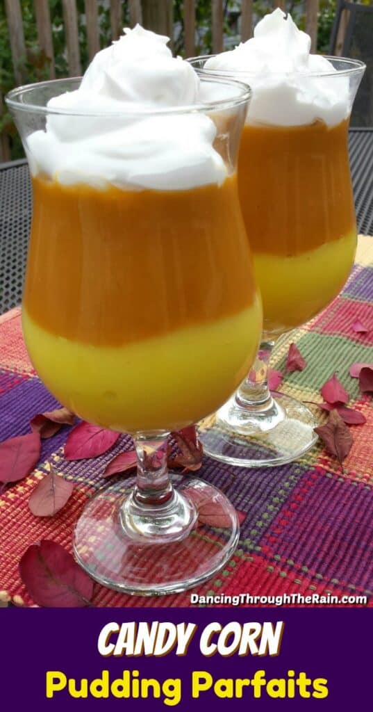 Candy Corn Pudding Parfaits on a red and purple placemat