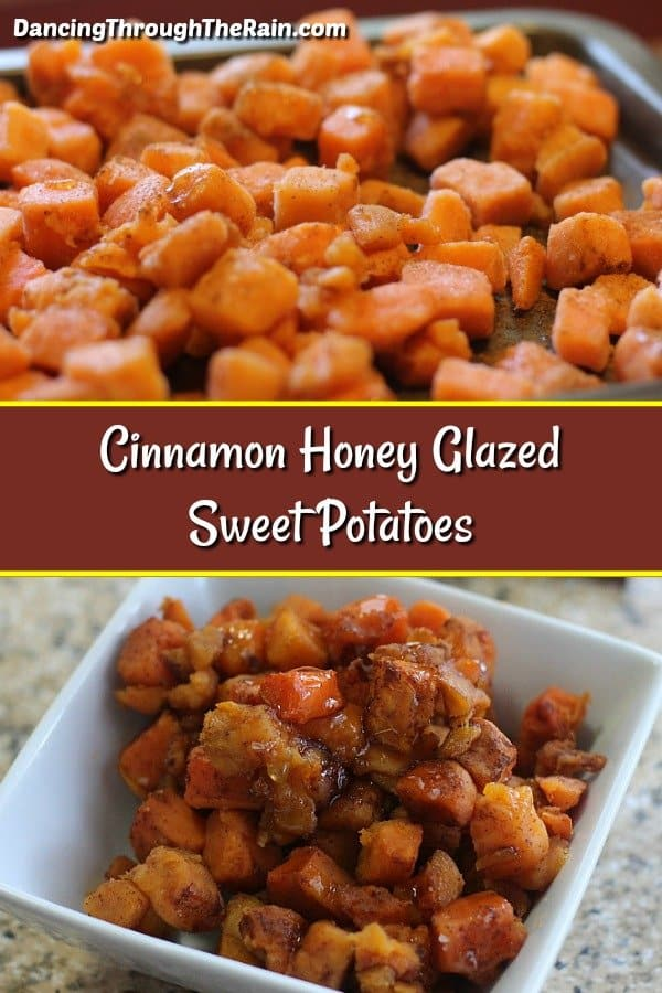 This is one of those vegetarian side dishes that is perfect for Thanksgiving, Christmas or any regular dinner during the year! As sweet potato recipes go, these Cinnamon Honey Glazed Sweet Potatoes are exactly what you need for a vegetarian Thanksgiving. Plus, they are also gluten-free, dairy-free, egg-free and paleo. #sweetpotatoes #paleo #glutenfree #dairyfree #eggfree #vegetarian #thanksgiving #sidedishes