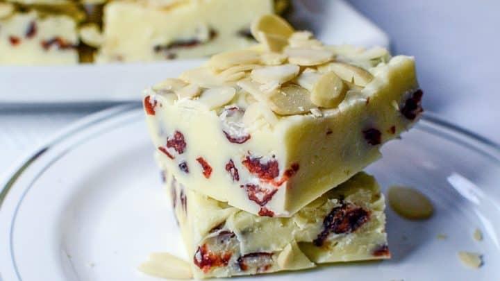 White Chocolate Cranberry Fudge