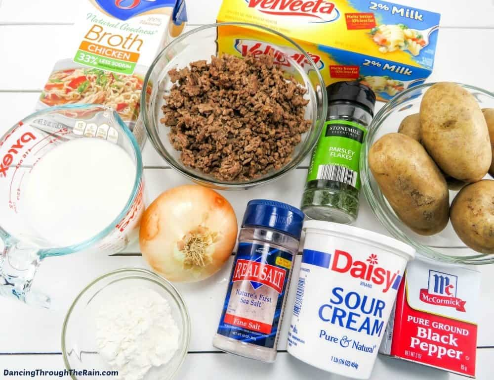 Ingredients for Cheeseburger Soup on a table