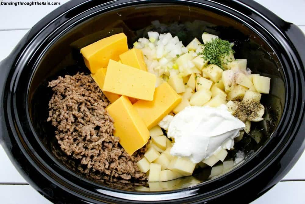 Ingredients for Cheeseburger Soup in the slow cooker