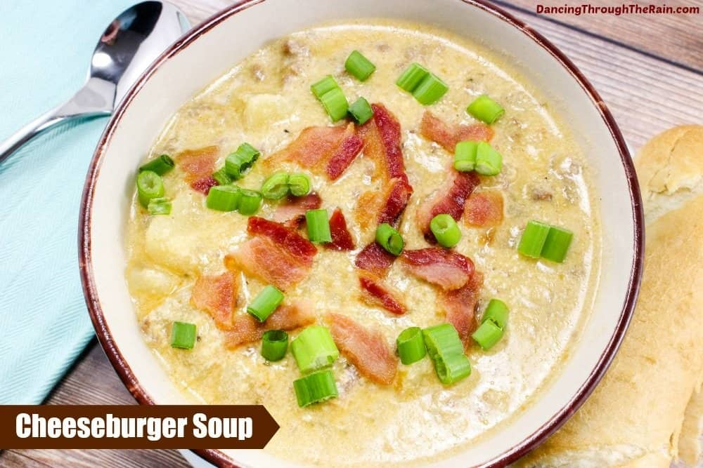 Cheeseburger Soup in a white bowl