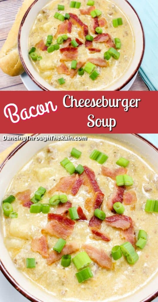 Two pictures of Bacon Cheeseburger Soup in bowls