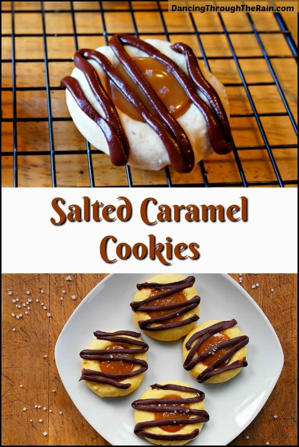 Two pictures of Salted Caramel Thumbprint Cookies, one on a cooling rack and another on a white square plate