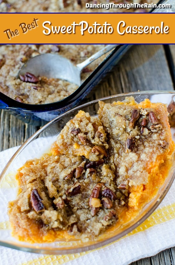 If you are looking for the best sweet potato casserole recipe, you've found it! This vegetarian sweet potato casserole will be a hit each and every Thanksgiving! It is a side dish to feed a crowd and you will be asked to make it again year after year. #thanksgiving #sweetpotatoes #casserole #vegetarian #sidedish