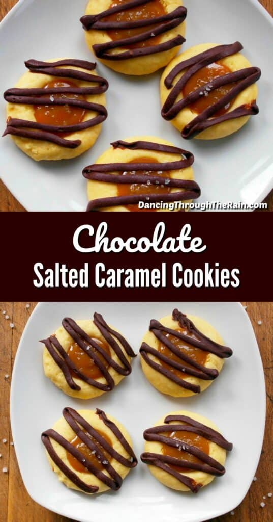 Two pictures of Salted Caramel Cookies on white square plates