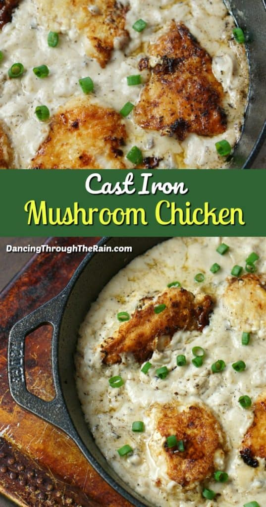 Two pictures of Skillet Chicken and Mushrooms in the Cast Iron pot