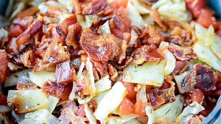 Tomato Bacon and Cabbage Saute