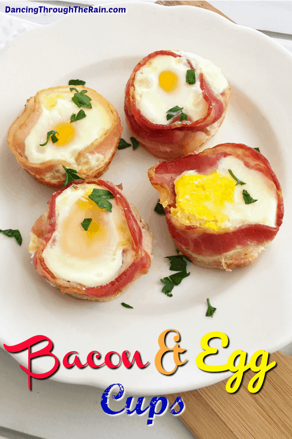 Four bacon and egg cups on a white plate with parsley sprinkled around