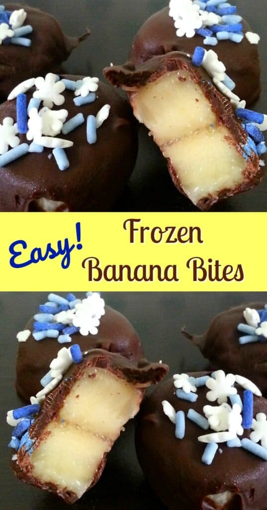 Two pictures of Easy Frozen Banana Bites with one cut in half on a black table