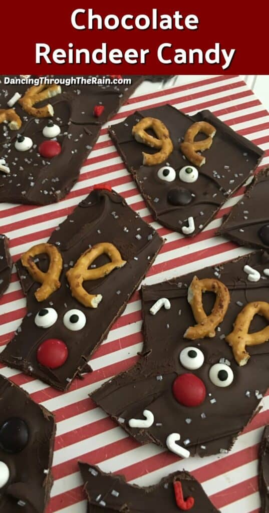 Seven pieces of Chocolate Reindeer Candy on a red and white striped placemat