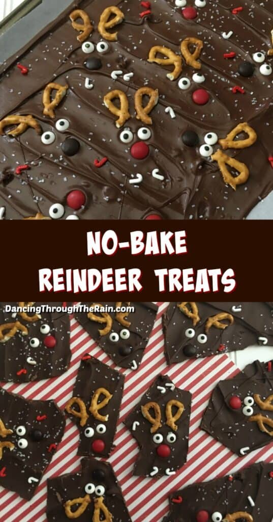 Two pictures of No-Bake Reindeer Bark, one still warm on a cookie sheet and another of Reindeer Bark pieces ready to eat