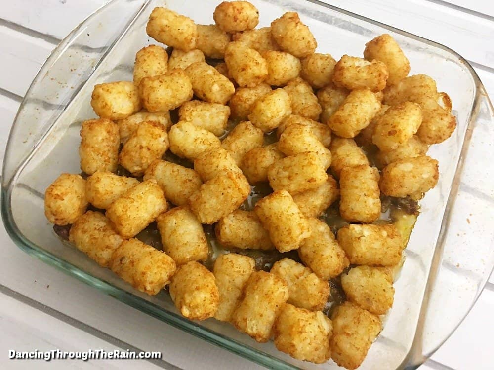 Baked tater tots in a casserole dish