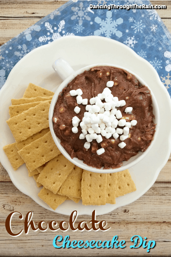 Hot chocolate cheesecake dip in a white bowl on a white plate surrounded by graham cracker sticks
