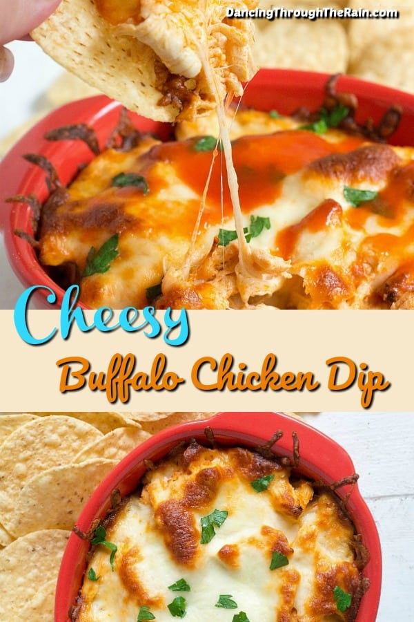 Cheesy Buffalo Chicken Dip in a red bowl with chips around it