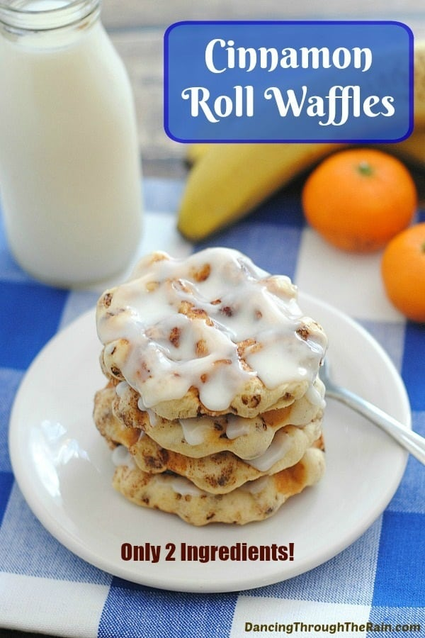 Cinnamon Roll Waffles on a white plate and checkered blue placemat
