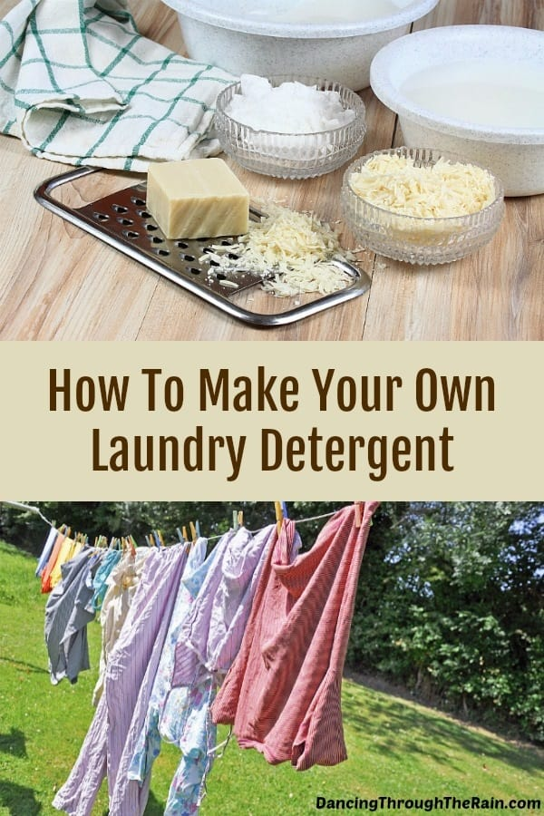 Homemade laundry detergent ingredients and clothes hanging on a line