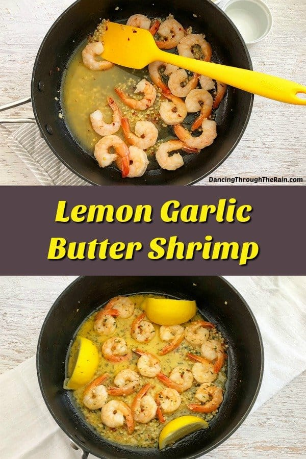 Two pictures of Lemon Garlic Butter Shrimp in a pan