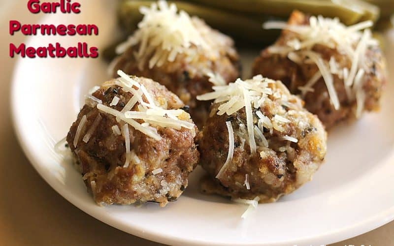 Parmesan Meatballs on a plate with green beans