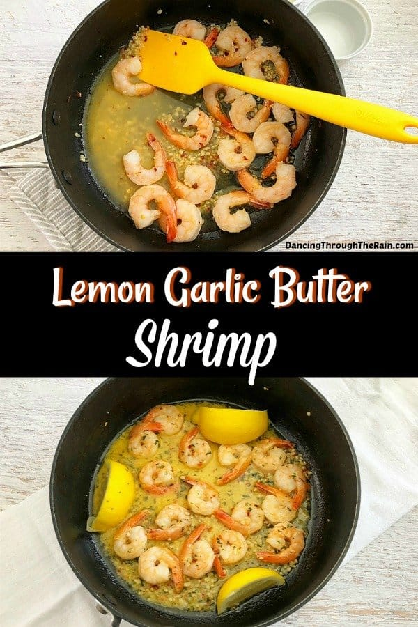 Two pictures of Lemon Garlic Butter Shrimp in a black cooking pan