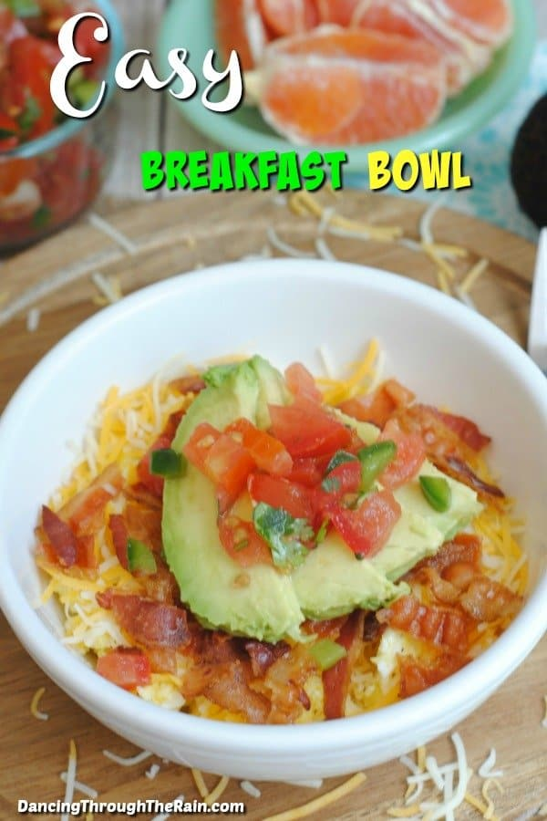 Easy Breakfast Bowl on a table with grapefruit in the background
