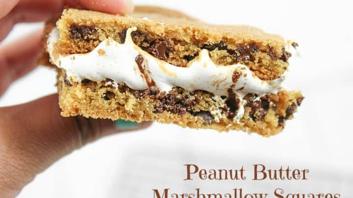 These Peanut Butter Marshmallow Squares are one of those dessert recipes that you can make in only minutes! With only three ingredients, this gooey deliciousness is something you can make as one of those last minute desserts!