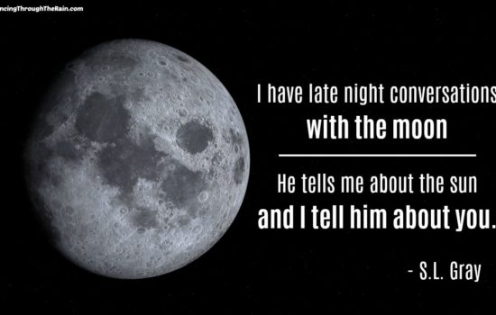 I have late night conversations with the moon, he tells me about the sun and I tell him about you. S.L. Gray