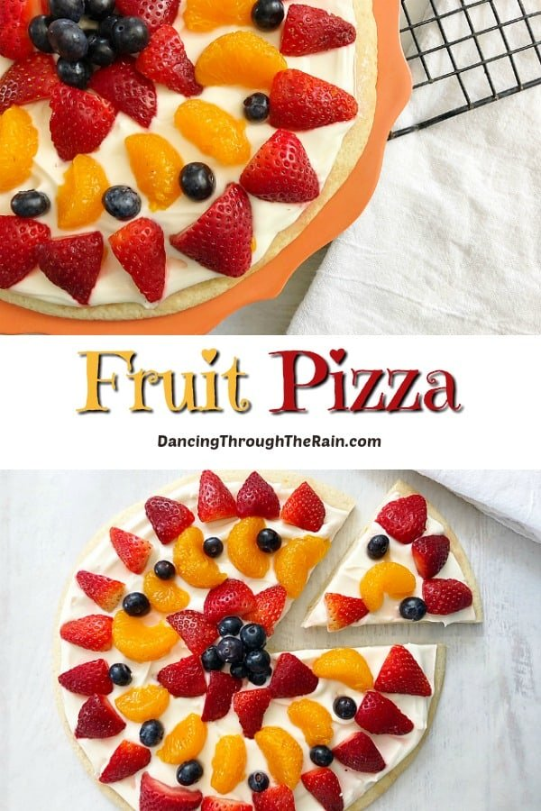 Two pictures of Sugar Cookie Fruit Pizza with strawberries, blueberries, and mandarin oranges