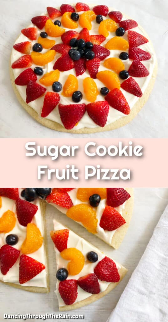 One picture of the whole Sugar Cookie Fruit Pizza on a white table and another picture of one slice being cut out of the fruit pizza