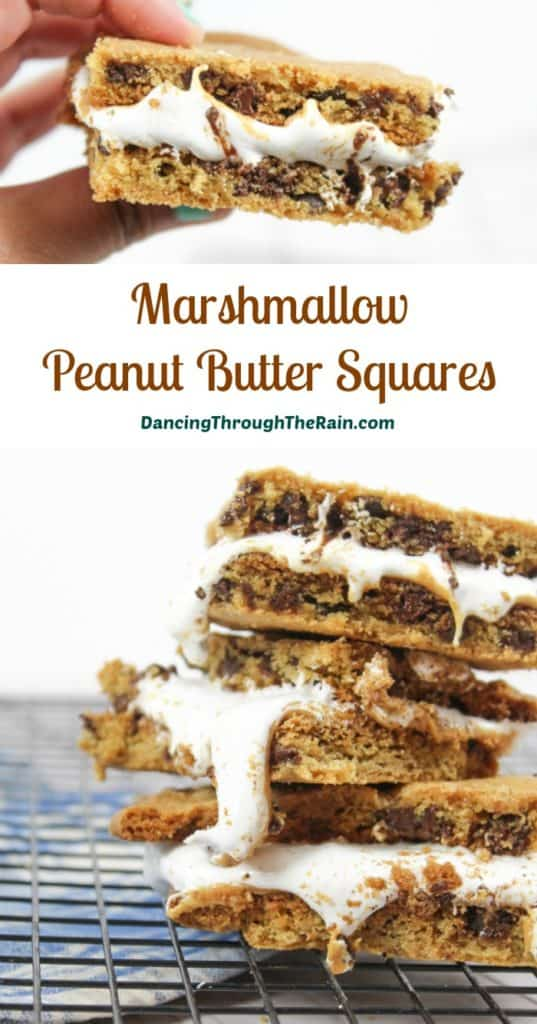 Marshmallow Peanut Butter Squares with gooey marshmallow falling over the edges on a wire rack