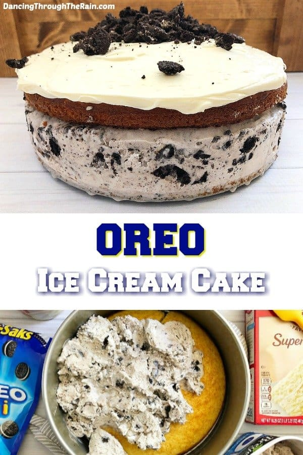 One picture of a homemade Oreo Ice Cream Cake on a white table and another of Oreo ice cream being spread on a vanilla cake in a springform pan next to a box of cake mix and bag of mini oreo cookies