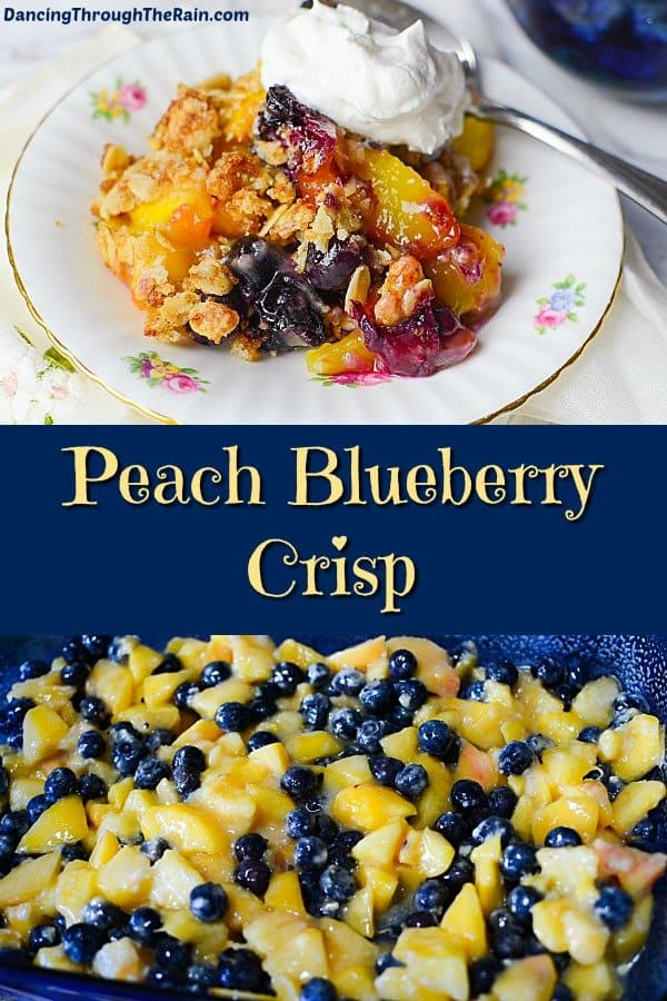 One picture of a scoop of Peach Blueberry Crisp on a white plate decorated with flowers with a scoop of whipped cream and a metal fork