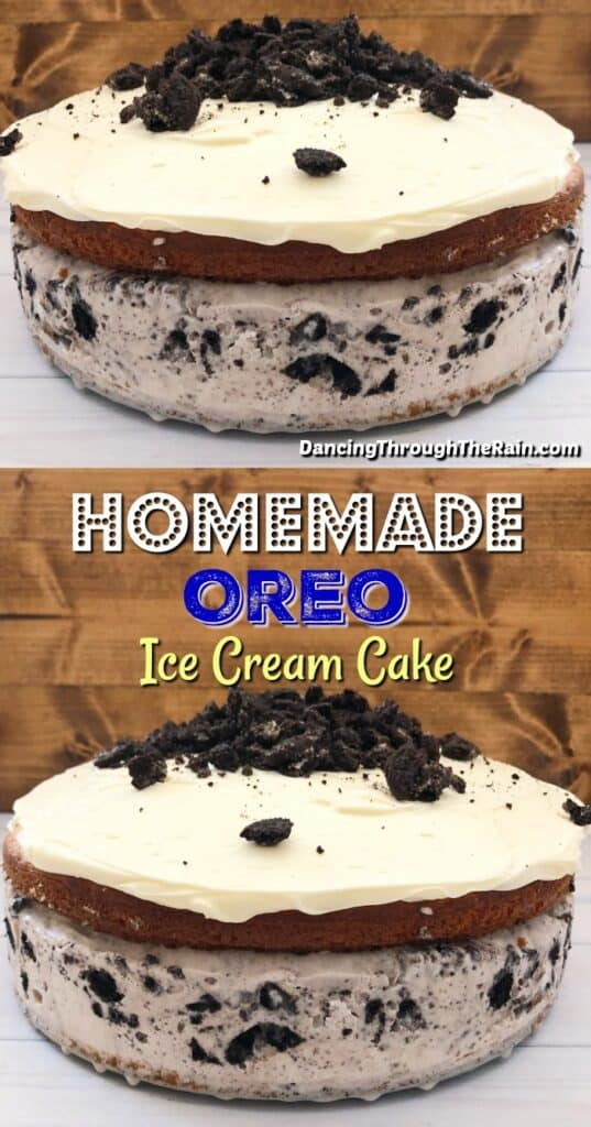 Two pictures of Homemade Oreo Ice Cream Cake on a gray table in front of a brown background