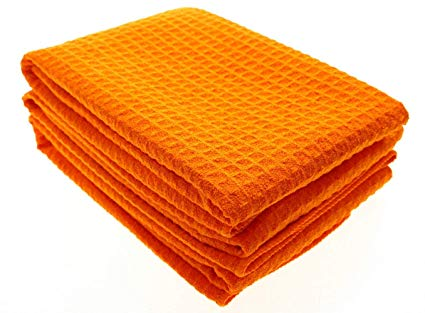 "Aniease Microfiber Dish Cloth Waffle Weave Kitchen Drying Towels 3 Pack 16Inchx24Inch (Orange, 16""x24"")"