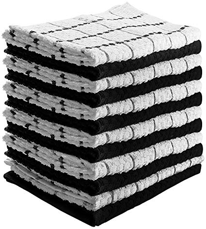 Utopia Towels Kitchen Towels (12 Pack, 15 x 25 Inch) 100% Premium Cotton - Machine Washable - Extra Soft Set of 12 Black and White Dobby Weave Dish Towels, Tea Towels, Bar Towels