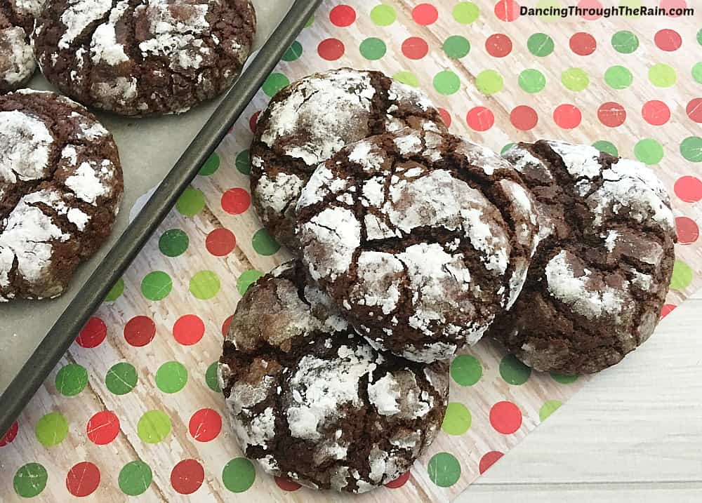 Chocolate Crinkle Cookies on a polka dotted placemat
